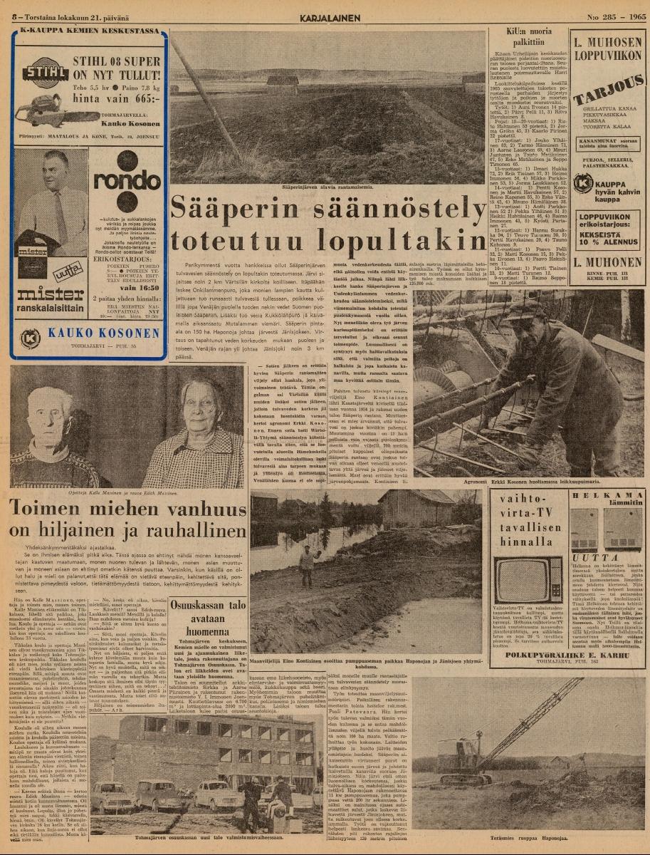 Karjalainen 21.10.1965Sääperin säännöstely toteutuu lopultakin